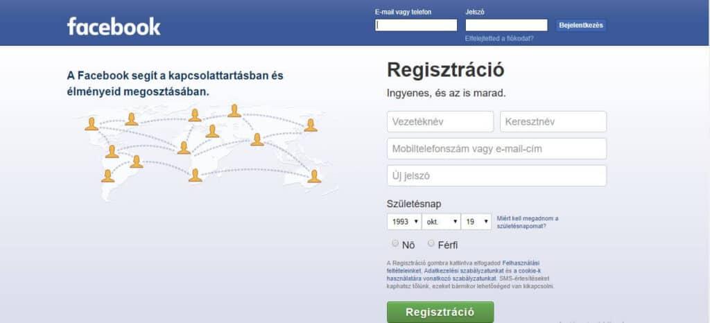 Facebook Belépés