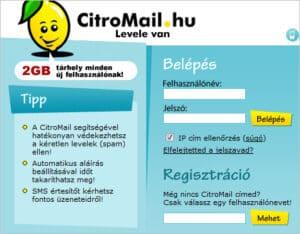 Citromail Regisztráció