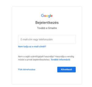 Gmail Belépés screen