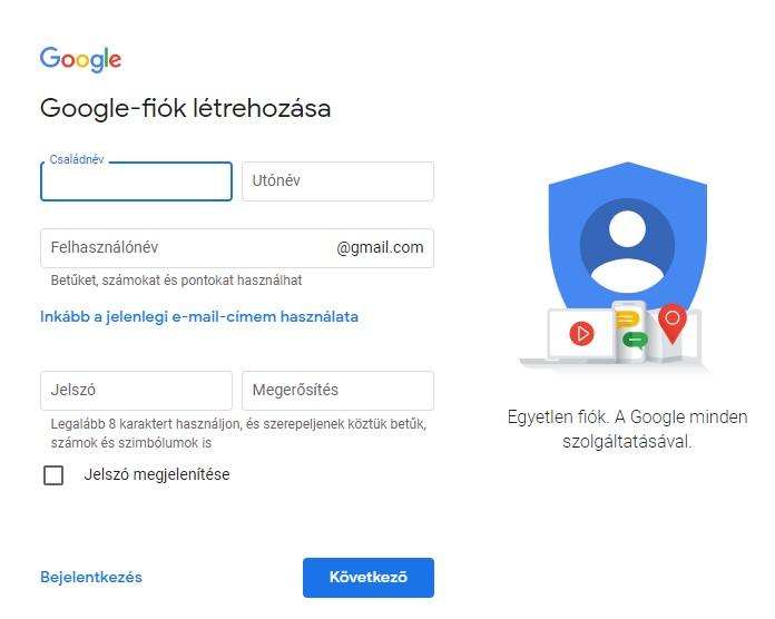 Gmail Regisztráció Google-fiók létrehozása